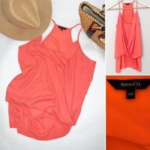 Tops - RW&Co Neon Coral Women's Hi-Lo Ruffle Tank - Med